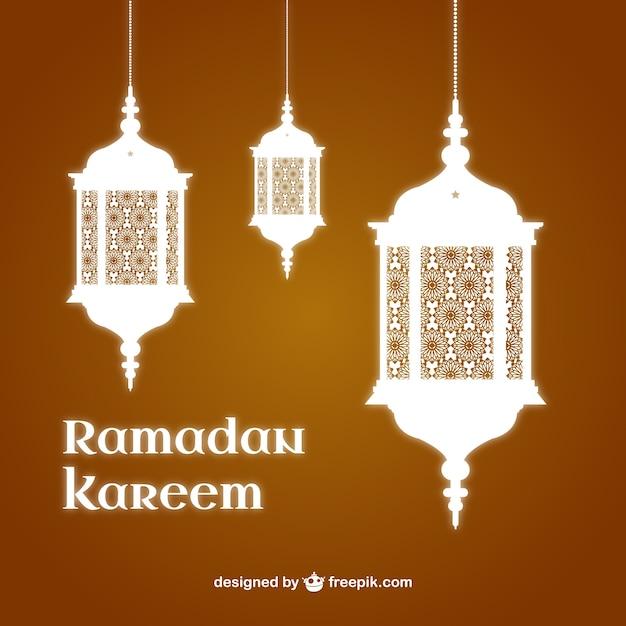 ramadan kareem background with lanterns vector free download