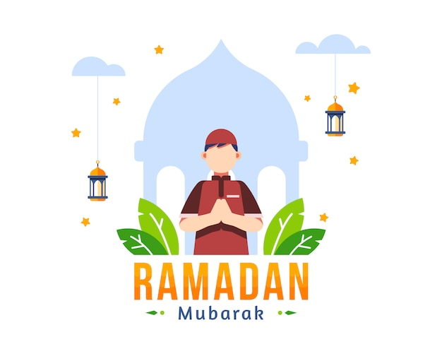 Ramadan kareem background with moslem young boy stand in front of mosque silhouette illustration Premium Vector