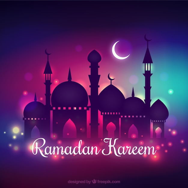 ramadan kareem background with nocturnal design vector free download