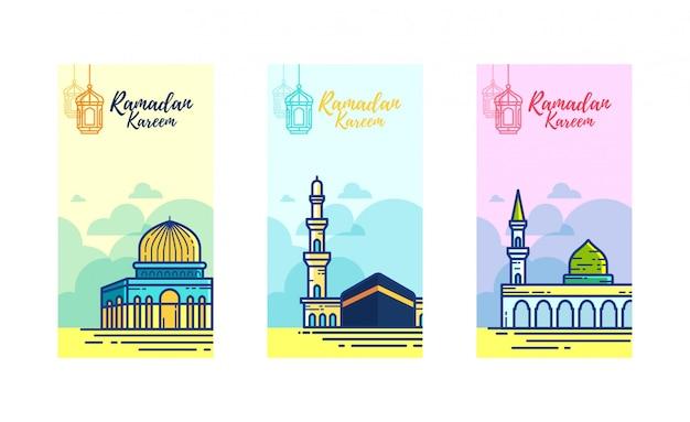 3つの聖なるモスクとラマダンカリームバナー Premiumベクター