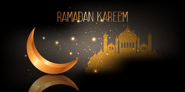 Ramadan kareem banner with crescent and mosque design Free Vector