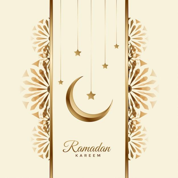 Ramadan kareem beautiful background with moon and star Free Vector