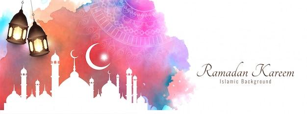 Рамадан карим красивый исламский красочный баннер Premium векторы