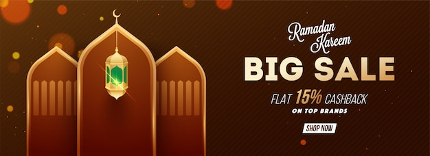 Ramadan kareem big sale 50% cashback, web header or banner desig Premium Vector