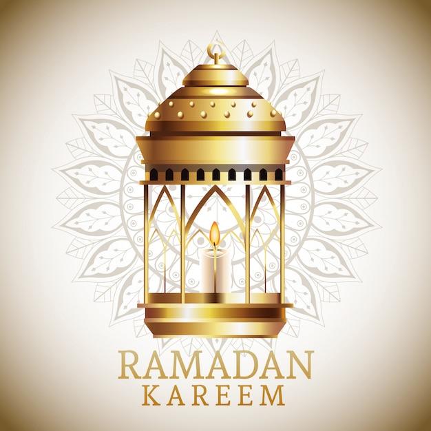 Рамадан карим празднование карта с фонарем висит Premium векторы