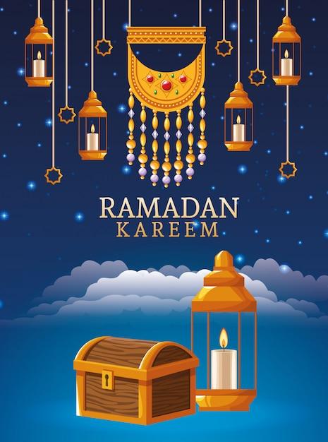 Празднование рамадана карима с висящими фонарями и сундуком Premium векторы