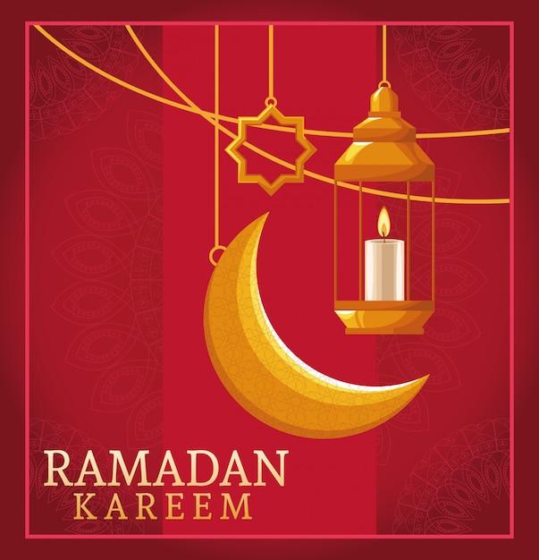 Празднование рамадана карима с висящими фонарями Premium векторы