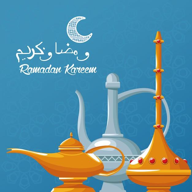 Праздник рамадан карим с чайником Premium векторы