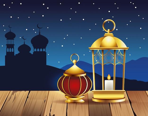 ランプとタージマハルのイラストでラマダンカリームお祝い Premiumベクター