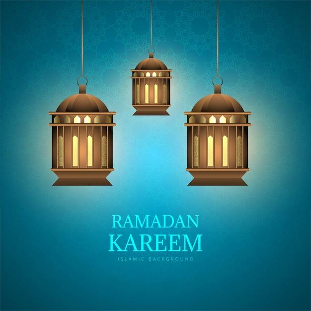 Рамадан карим декоративные арабские лампы фон Бесплатные векторы