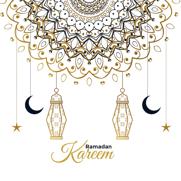 Ramadan kareem decorative beautiful greeting Free Vector