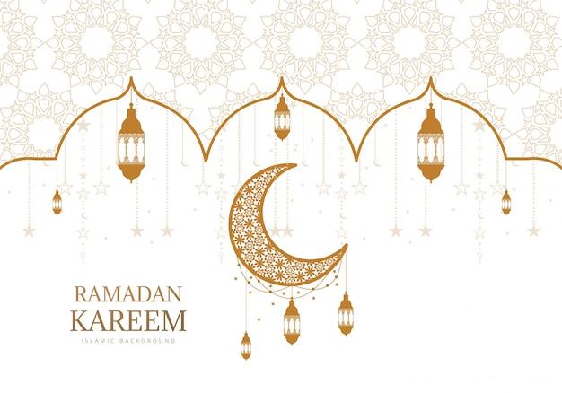 Рамадан карим декоративная луна с подвесными светильниками фон карты Бесплатные векторы