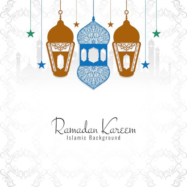 Ramadan kareem decorative religious background Free Vector