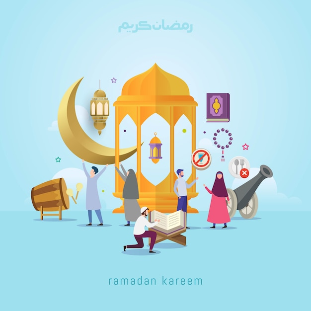 Ramadan kareem design concept with small people Premium Vector