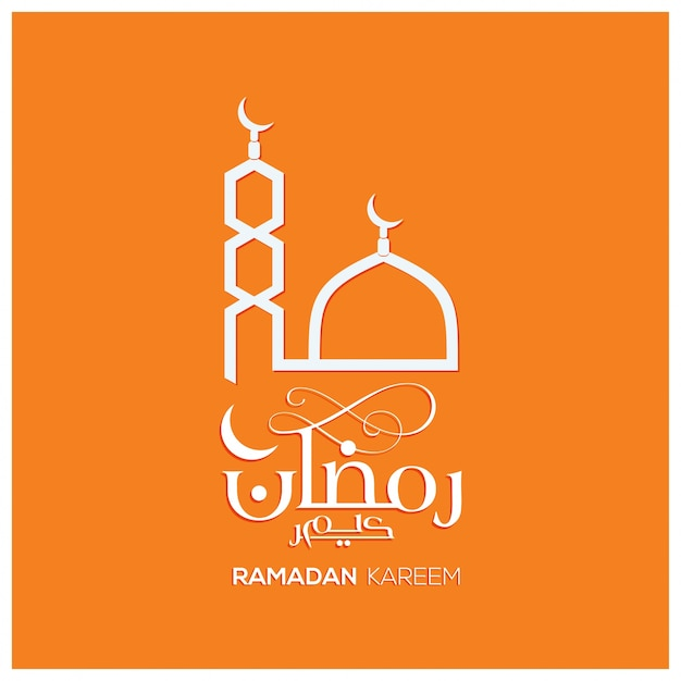 Ramadan kareem design with mosque on orange background Free Vector