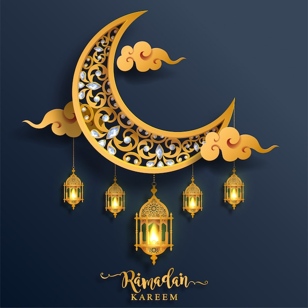 Ramadan kareem or eid mubarak  greeting background islamic with gold patterned and crystals on paper color background. Premium Vector