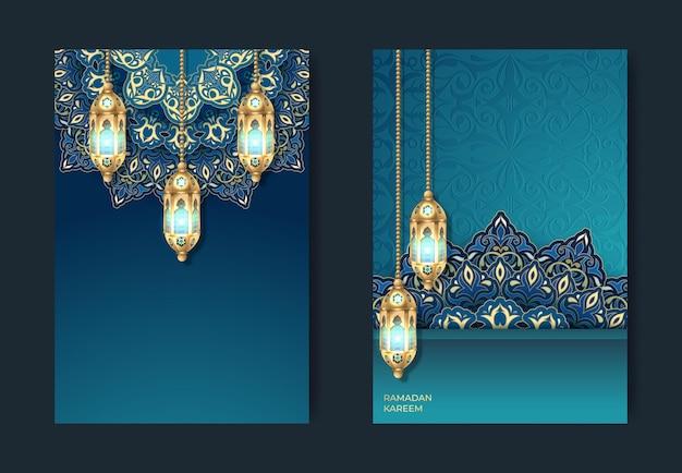 Ramadan kareem or eid mubarak greeting card islamic Premium Vector
