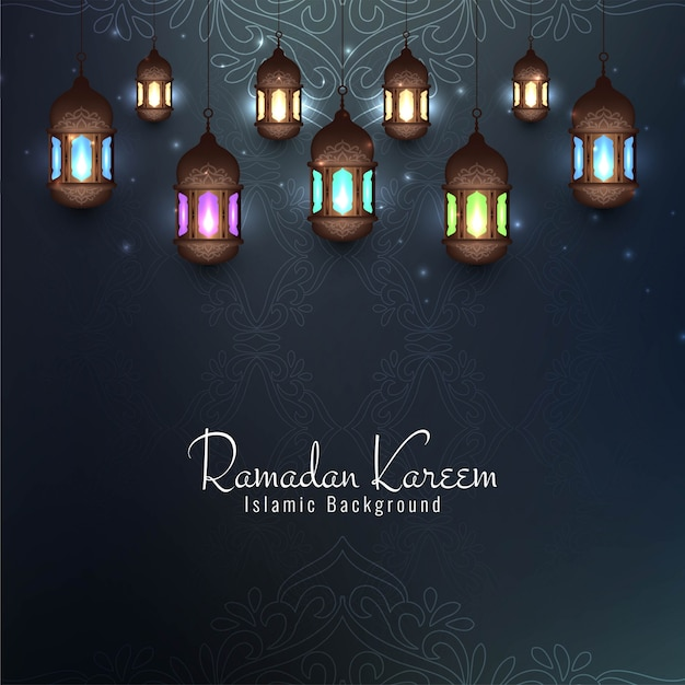 Ramadan kareem festival decorative card with lanterns Free Vector
