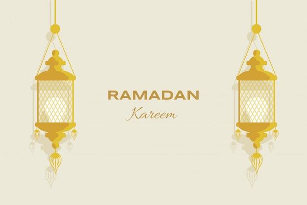 ラマダンカリームフラットグリーティングカードテンプレート。 eid mubarakのイスラム教徒の休日、アラビア語、イスラムのチラシデザイン。 Premiumベクター