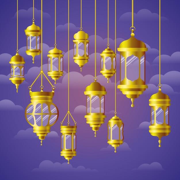 Ramadan kareem golden lamps hanging Premium Vector