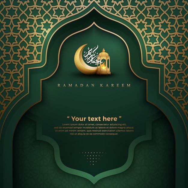 Ramadan kareem green with lanterns and crescent moon Premium Vector