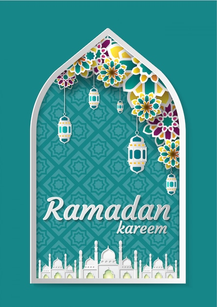Ramadan kareem greeting background Premium Vector