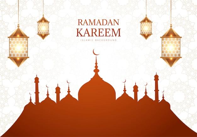 Рамадан карим открытка фон Бесплатные векторы