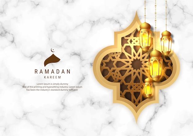 Ramadan kareem greeting card design. golden hanging ramadan lanterns on marbel background.  islamic