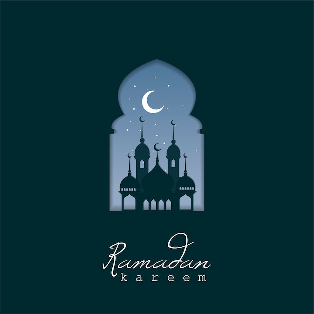 Ramadan kareem greeting card design Free Vector