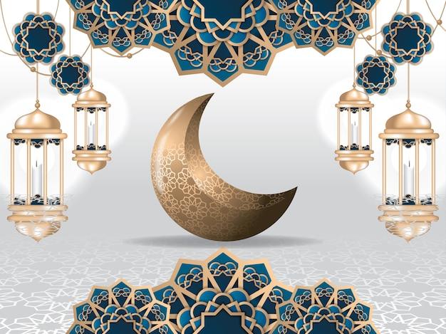 Ramadan kareem greeting card and islamic background Premium Vector