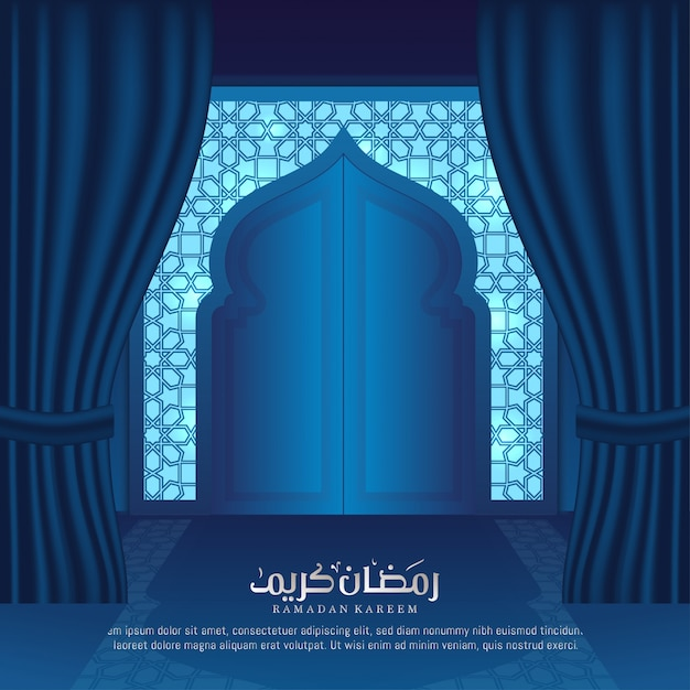 Ramadan Kareem greeting card islamic interior mosque door illustration Premium Vector  sc 1 st  Freepik & Ramadan Kareem greeting card islamic interior mosque door ...