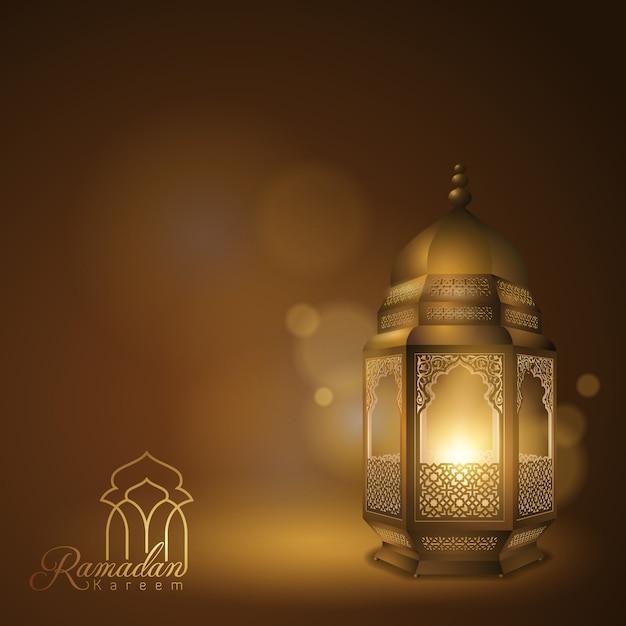 Ramadan kareem greeting card with arabic lantern Premium Vector