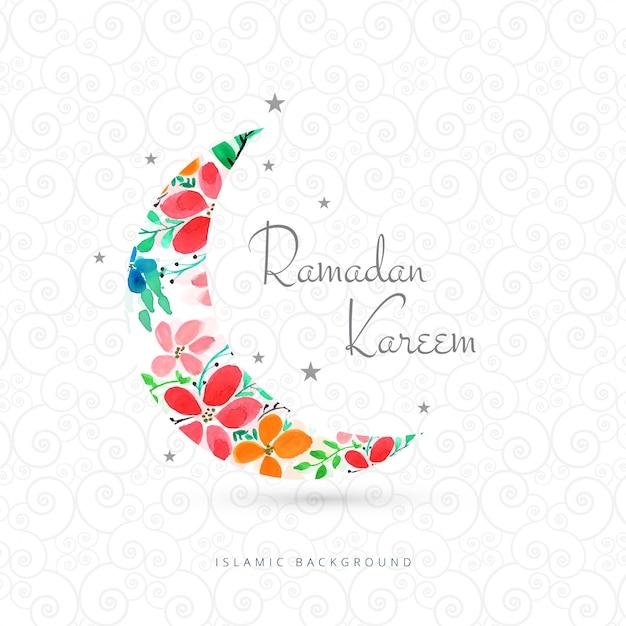 Ramadan kareem greeting card with moon design Free Vector