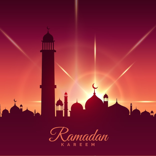Ramadan kareem greeting card with mosque and shiny star vector ramadan kareem greeting card with mosque and shiny star free vector m4hsunfo