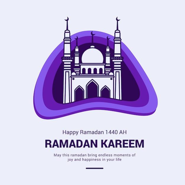 Ramadan kareem greeting card with mosque illustration Premium Vector