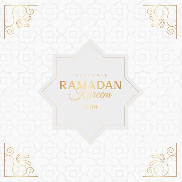 Ramadan kareem greeting card with ornaments Free Vector