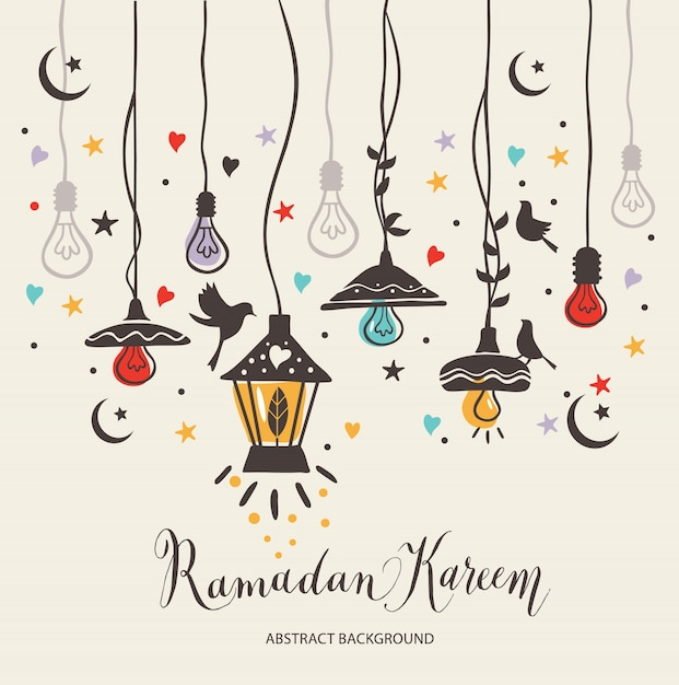 Ramadan kareem greetings card Free Vector