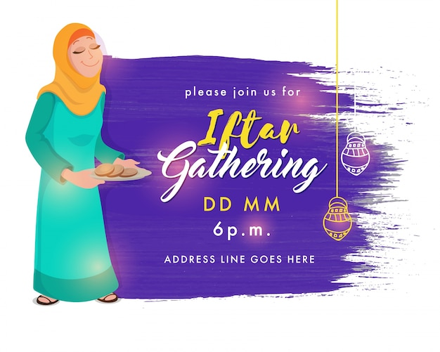 Ramadan kareem iftar gathering invitation card design abstract ramadan kareem iftar gathering invitation card design abstract brush stroke background with illustration of stopboris Choice Image