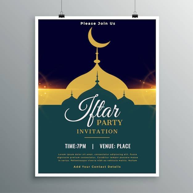 Ramadan Kareem Iftar Party Invitation Template Free Vector