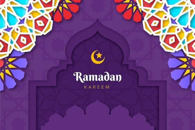 Рамадан карим иллюстрация в бумажном стиле Бесплатные векторы