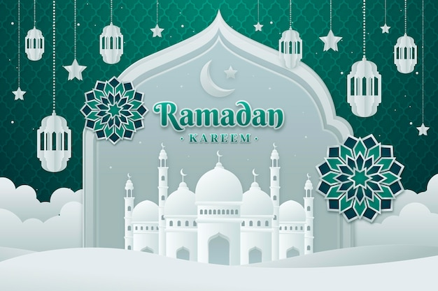 Ramadan kareem illustration in paper style Free Vector