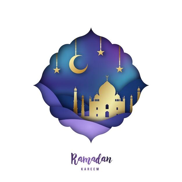 Ramadan kareem illustration with arabic origami mosque. Premium Vector
