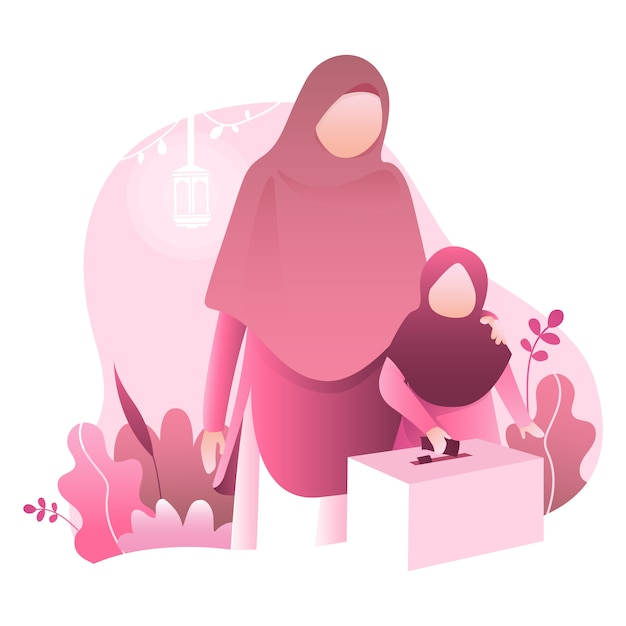 Ramadan kareem illustration with moslem family Premium Vector