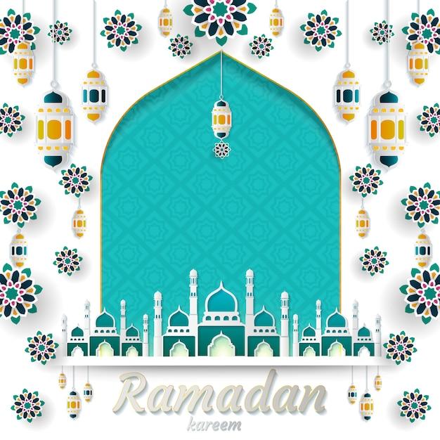Ramadan kareem of invitations design Premium Vector