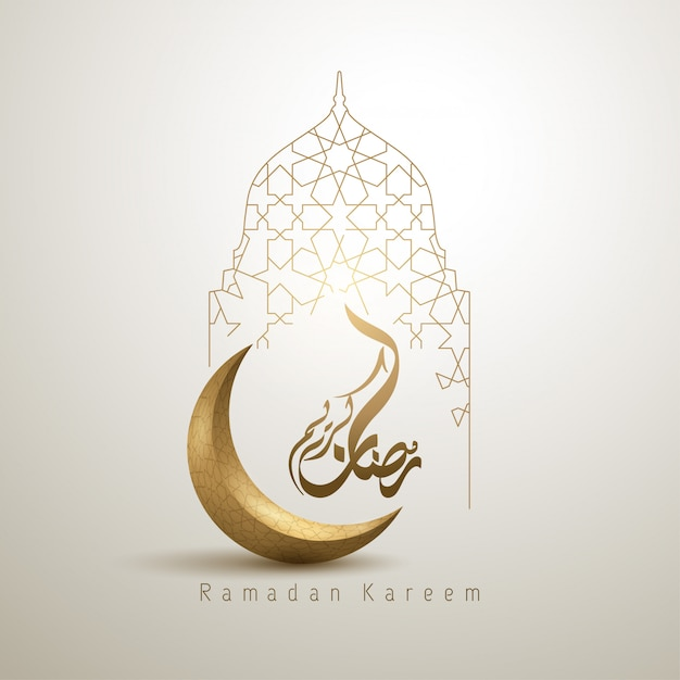 Ramadan kareem islamic design crescent moon and mosque Premium Vector