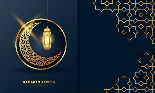 Ramadan kareem islamic greeting card background   illustration Premium Vector