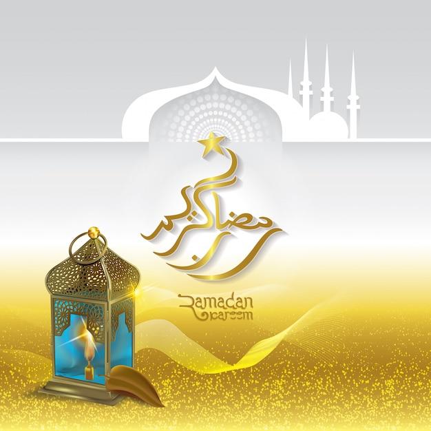 Ramadan kareem islamic greeting with arabic traditional lantern ramadan kareem islamic greeting with arabic traditional lantern premium vector m4hsunfo