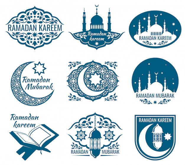 Ramadan kareem labels. vintage badges with arabic islamic calligraphy. Premium Vector