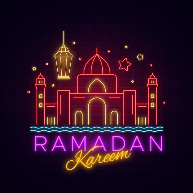 Рамадан карим надпись неоновая вывеска Бесплатные векторы
