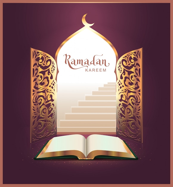 Ramadan kareem lettering text and open book, door Premium Vector